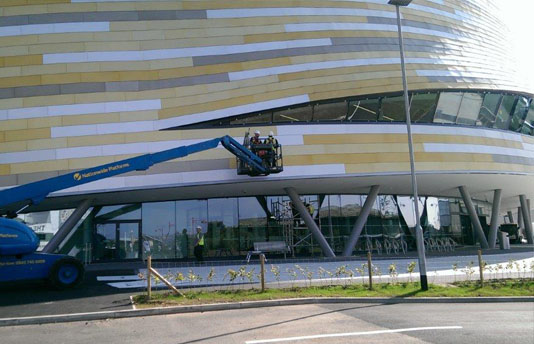 Curtain Wall Rectification Work at Derby Velodrome